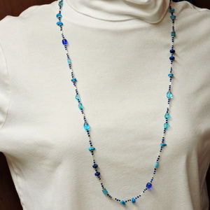Long Necklace in Blue with Silver Accent